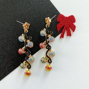 Colorful Christmas Ornament Earrings